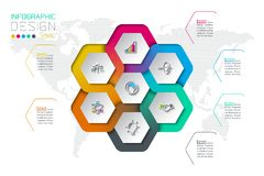 Business hexagon labels shape infographic on circle. Business hexagon labels shape infographic on circle on vector graphic art stock illustration