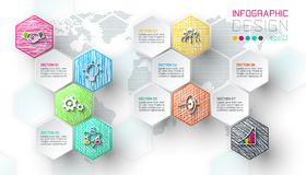Business hexagon net labels shape infographic bar. Business hexagon net labels shape infographic bar on vector graphic art royalty free illustration