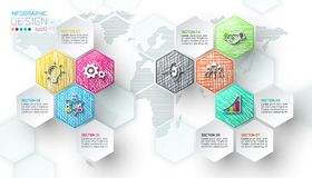 Business hexagon net labels shape infographic bar. Business hexagon net labels shape infographic bar on vector graphic art vector illustration