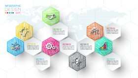 Business hexagon net labels shape infographic bar. Business hexagon net labels shape infographic bar on vector graphic art stock illustration