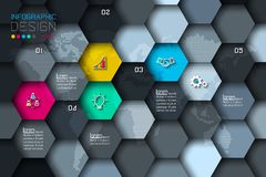 Business hexagon net labels shape infographic with dark background. Business hexagon net labels shape infographic with dark background on vector graphic art royalty free illustration