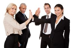 Business high five. Businesspeople exchange a high-five.  Isolated on white Stock Photography