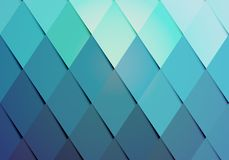 Business hipster color background pattern. With a geometric arrangement of graduated diamonds or rhombs from turquoise to blue in a repeat pattern with side Stock Image