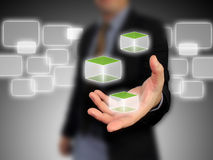 Business holding cubic. Business man hand holding cubic Stock Photo