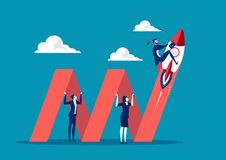 Business holding graph to growth business .illustration concepts for business plan, startup, creativity and innovation. Illustrator stock illustration