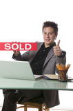 business holding man sign sold Zdjęcia Stock