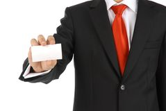 Business holds business card Royalty Free Stock Image