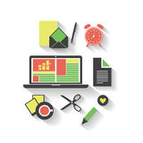 Business, Home, Office - Flat Icon Design Set Stock Images
