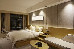 Business luxury hotel room at night royalty free stock images