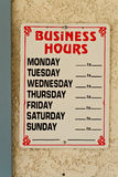 Business Hours. On Office Store Front royalty free stock photo