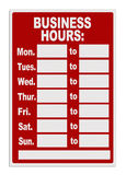 Business Hours Sign stock photography