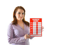 Business Hours. Woman holding red business hours sign to be filled in by user Royalty Free Stock Images