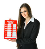 Business Hours. Woman holding a Business Hours sign Royalty Free Stock Photos