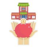 Business House investment money set saving piggy Royalty Free Stock Photos