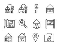 Business house real estate icon set royalty free illustration