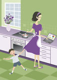 Business housewife. Housewife juggling with business and house work Stock Image