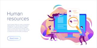 Business HR concept. Human resources manager hiring employee or workers for job. Recruiting staff in company. Organizational royalty free illustration