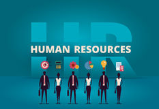 Business HR concept. Human resources manager hiring employee. Or workers for job. Recruiting staff in company. Organizational socialization metaphor Royalty Free Stock Photos