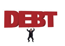 Business with a  huge debt. Businessman carrying a huge debt sign. Shot in studio isolated on white Stock Image