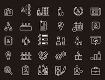 Business, human resources and worker icons. White outline icons relating to business, human resources and workers on black background Royalty Free Stock Photo