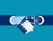 Business human and robot hands shake.  Stock Photo