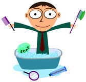 Business hygiene. A business man in a bath tub surrounded with objects used for hygiene royalty free illustration