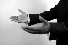 Business-I am here (two hands) b/w Royalty Free Stock Photo