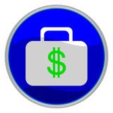 Business icon. Vector illustration of a glossy icon of a suitcase with a green dollar sign on it Royalty Free Stock Photos