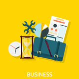 Business Icon Concept Flat Design. Business icon, marketing and document, management and chart, organization and data, development strategy success Royalty Free Stock Photo