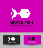 Business Icon design template. Vector logo concept brave fish  template for swimming pool. Abstract emblem for Pool, swimming club, swimmer silhouette, water Royalty Free Stock Photos