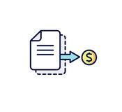 Business icon. The document with the coin: invoice, receipt, payment. Vector illustration. Stock Image