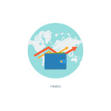 Business icon. Global Financial Network Icon. Creative concept for business, stock market, financial market news, consulting, m-banking, on-line investing. Flat Royalty Free Stock Photos