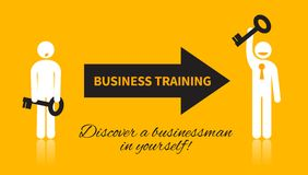 Business icon of man with a key. Who attended a training and discover a businessman in yourself with black and white elements on a yellow background Stock Images