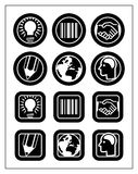 Business Icon Set. 6 business icons in black & white in two shapes: round and squared. The zip file also contains large jpg file Stock Photos