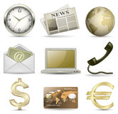 Business icon set. Business website gold icon set Royalty Free Stock Photo