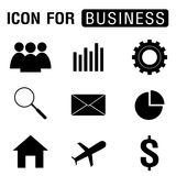 Business icon set in black design isolated on white background. Royalty Free Stock Image