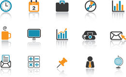 Business Icon Set - Blue. Set of modern icons for the business office. Blue and orange version Stock Image