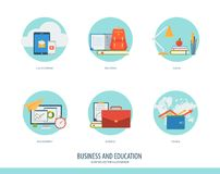 Business icon set. Business, finance and education icon set. Creative concept for financial, education, training, e-commerce, e-business. Flat modern design Royalty Free Stock Image