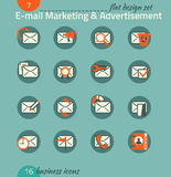 Business icon set. E-mail marketing, advertisement, e-commerce. Stock Image