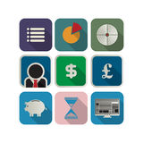 Business icon set. Finance or business icon set for the apps Stock Image