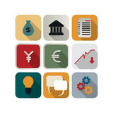 Business icon set. Finance or business icon set for the apps Stock Photos
