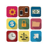 Business icon set. Finance or business icon set for the apps Stock Photography