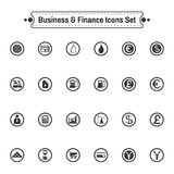 Business icon set. Business and Finance Flat Icons Set. Digital background vector illustration on white backdrop Royalty Free Stock Photos