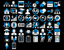 Business Icon Set. These flat bicolor icons use blue and white colors. Glyph images are isolated on a black background Stock Photos