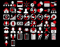 Business Icon Set. These flat bicolor icons use red and white colors. Vector images are isolated on a black background Royalty Free Stock Photo