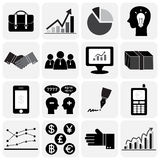 Business icon set (Flat design) Stock Photos