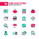 Business icon set in flat line style. Business and finance icons set in line style Royalty Free Stock Images