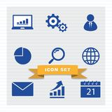 Business icon set flat style. royalty free illustration