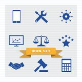 Business icon set flat style. stock illustration