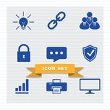 Business icon set flat style. vector illustration